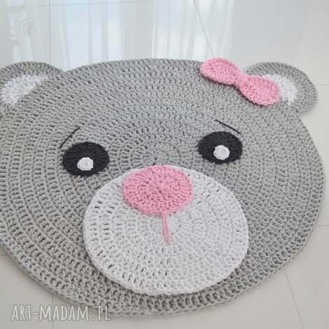 dywan miś róż - dywan bawełniany 100cm - dywan, miś, dywanik, dziecko
