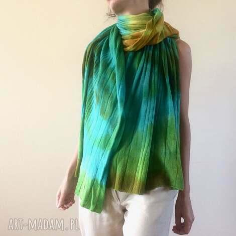 Anna Damzyn: kolorowy wełniany szal, wełna, dzianina, prezent, zimowy, szalik