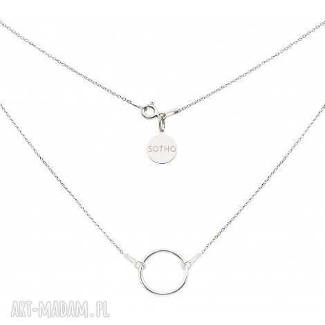 srebrny naszyjnik z dużą karmą, zawieszka, karma koło modowy