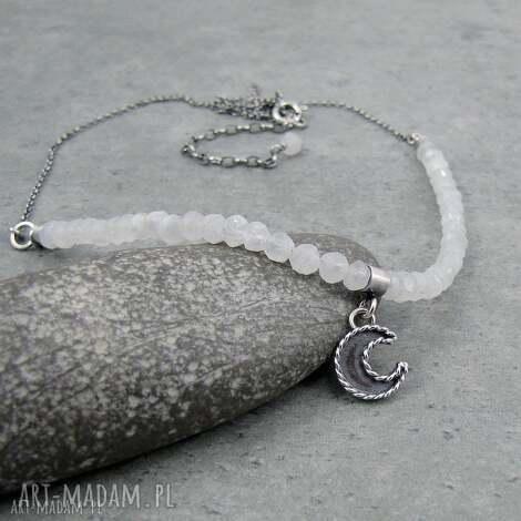 moon charm necklace with moonstone - romantyczny, księżyc, boho, vintage, charms