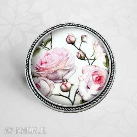 pudrowe róże- śliczna broszka z kwiatami w szkle - kwiaty, róża