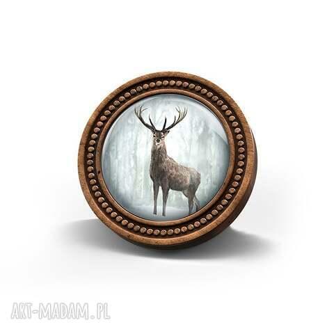 broszka drewniana liliarts - jeleń 3, leśna, naturalna, prezent