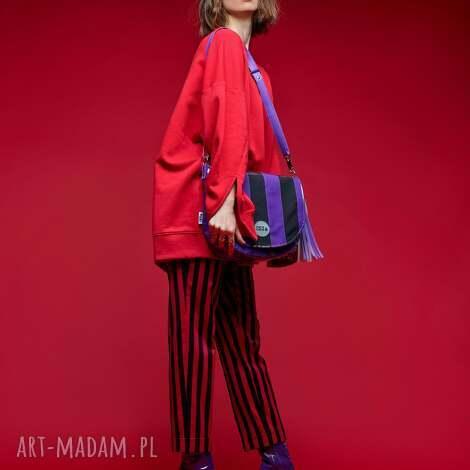 na ramię torebka damska podkówka w paski, elegancka torebka