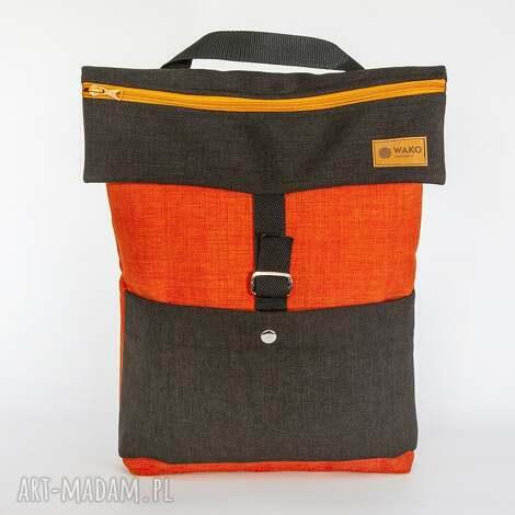 plrcako-torba pomarańcz z ciemnym, torba, plecak, ramię
