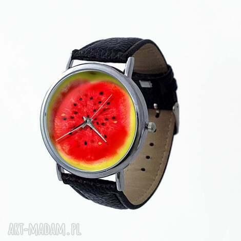 arbuz - skórzany zegarek z dużą tarczą - arbuz, owocowy, zegarek, lato