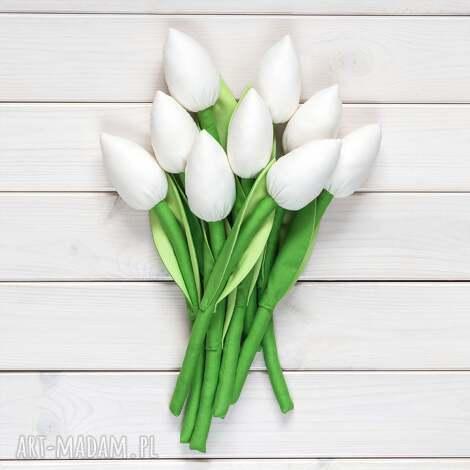 tulipany kremowy bawełniany bukiet, tulipany, kwiaty, dekoracja, prezent