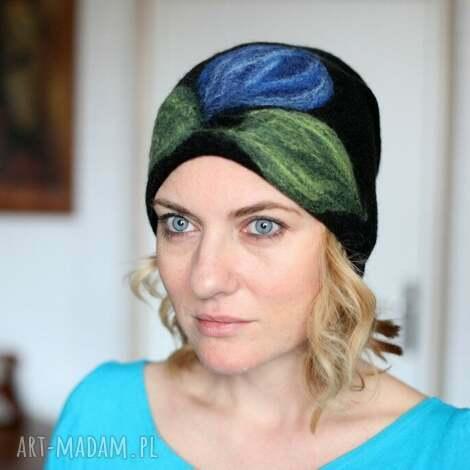 czapka wełniana damska czarna, czapka, wełna, zima, mama, ciepła, prezent