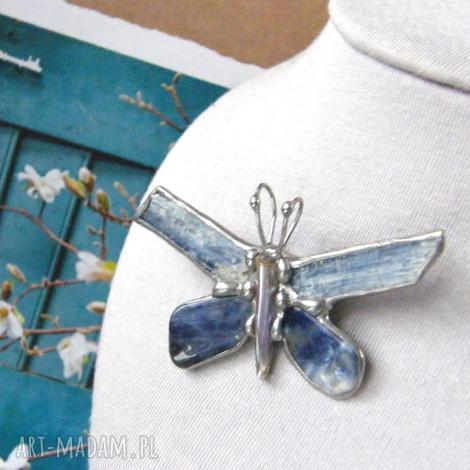 broszka i wisiorek 2 w 1: motyl niebiański, broszka z kamieni, motyl, kamienie