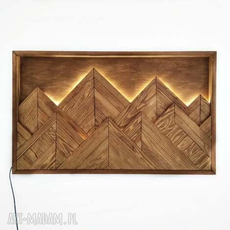 aleksandrab obraz z drewna, dekoracja ścienna podświetlana led /88 /