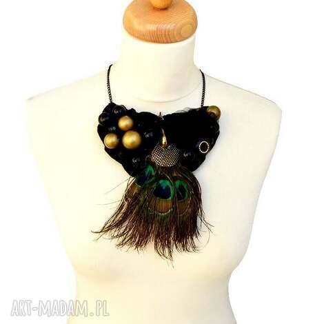 pawie oko naszyjnik handmade - naszyjnik, kolorowy, czarny, pawieoko, pawiepióro