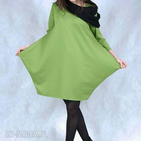 green corn, wygodna, wymyślna, gładka, kieszenie, midi, lużna sukienki