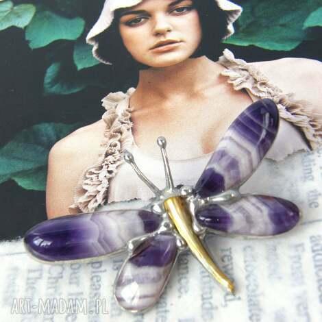 broszka i wisior (2 w 1): ważka cytrynowo-fioletowa ametyst, broszka z wisiorkiem