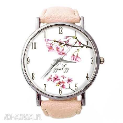 kwiat wiśni - skórzany zegarek z dużą tarczą, zegarek, kwiat, wiśni, pastelowy