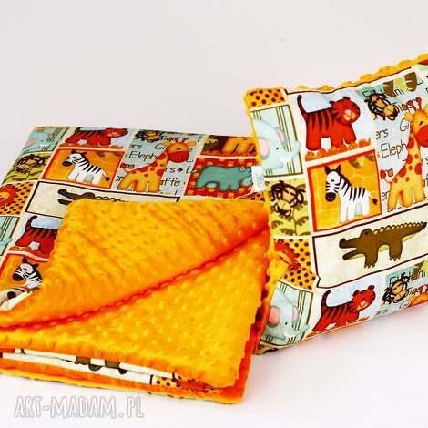 zestaw przedszkolaka kocyk i poduszka safari pomarańcz - kocyk, poduszka, zestaw