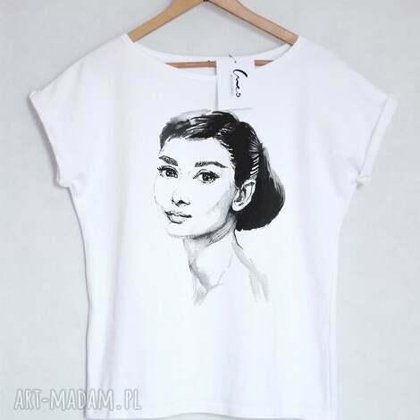 audrey koszulka bawełniana biała s/m, koszulka, tshirt, bawełniana, nadruk
