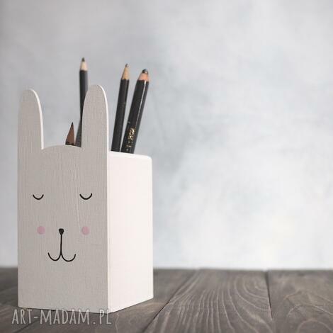 duży - pojemnik na kredki - królik - królik, ręcznie malowane, pudełko