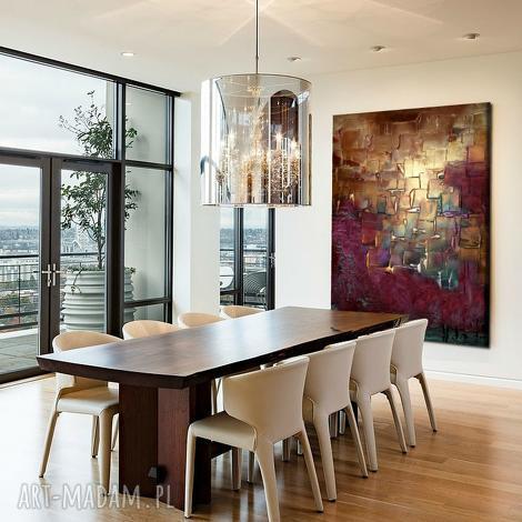 wielki obraz do salonu ze złotą strukturą, obrazy salonu, nowoczesne