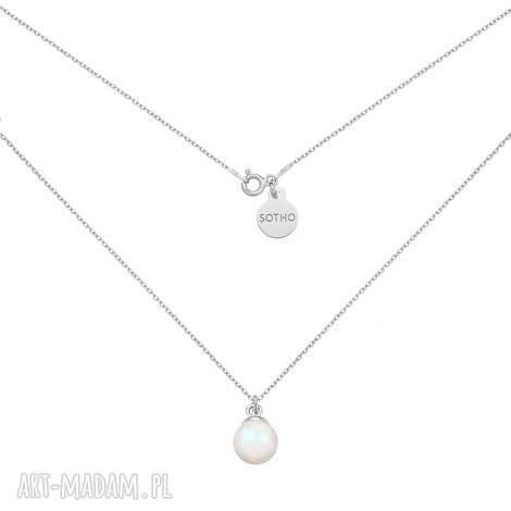 srebrny naszyjnik z opalizującą perłą swarovski crystal, zawieszka