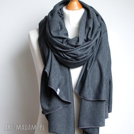 szal, szalik bawełniany grafitowy, pomysł na prezent - szal, szalik, bawełna