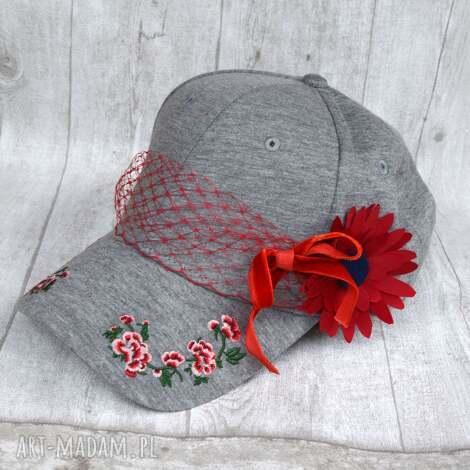 5ac334279 święta, czapka z daszkiem, czapka, szary, woalka, kwiat, kwiaty,