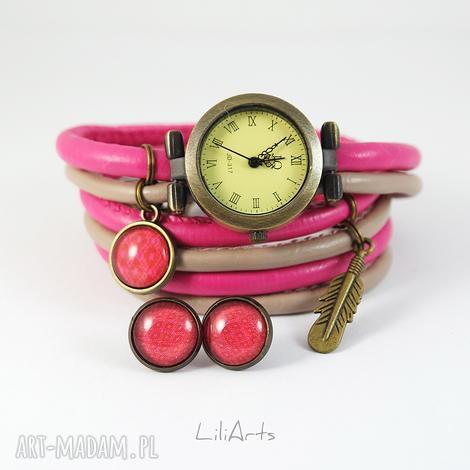 zegarki komplet - piórko zegarek i kolczyki różowo, beżowy antyczny brąz