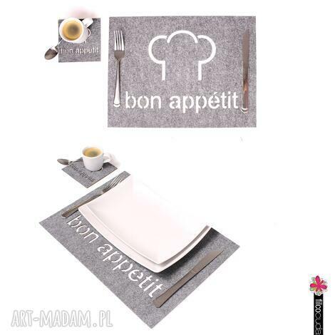 podkładki filcowe pod zastawę bon appetit - 4 szt, filc, podkładka, filcowa, mata