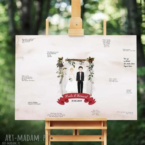 alternatywna księga gości obraz na płótnie 50x70 cm - baldachim boho, ślub, wesele