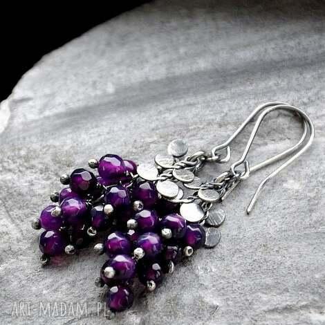 fioletowe agaty- leciutkie kolczyki, srebro, agaty, lekkie, romantyczne biżuteria