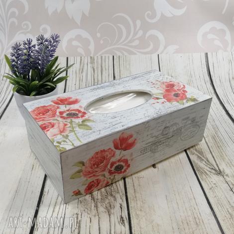 chustecznik drewniany - czalerwone kwiaty, chustecznik, pudełko