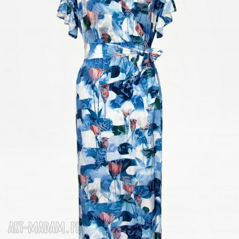 bien fashion długa sukienka kopertowa w kwiaty, kwiatowa, długa, maxi, falbanka