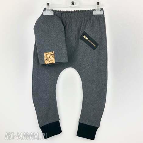 komplet spodnie buggy i ciepła czapeczka grafit, komplet, zestaw, buggy
