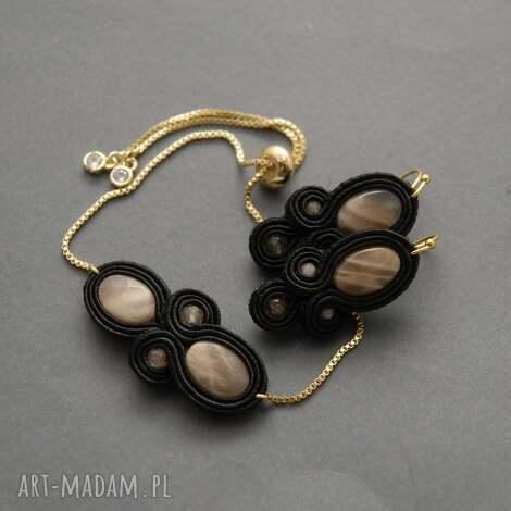 komplet biżuterii sutasz z kamieniami słonecznymi, sznurek, wyjściowy, elegancki