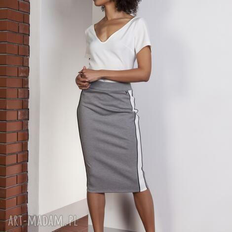 spódnice ołówkowa spódnica midi z lampasami, sp117 szary, spódnica, midi