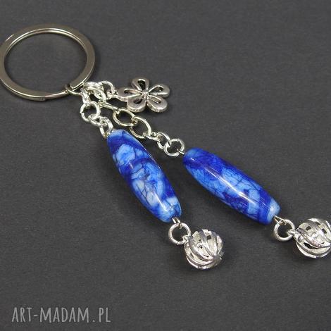 0129 mela brelok do kluczy kamień sodalit metal - brelok, do kluczy, przywieszka