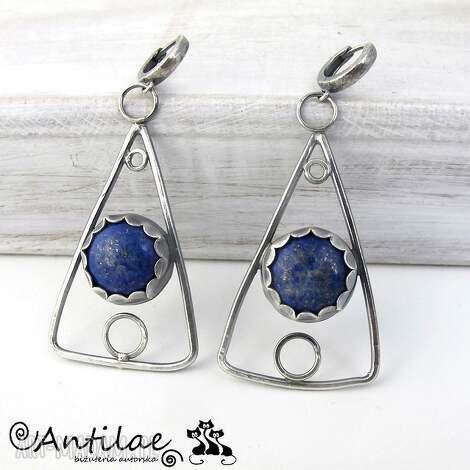 trekanter - lapis lazuli, srebro - kolczyki, lapis
