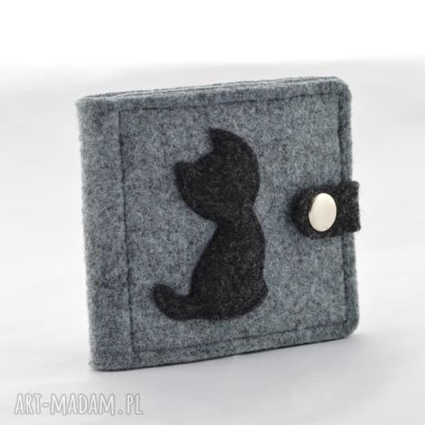 green sheep portfel- mini z kotem- szary i grafit, portfel, portfelik, portmonetka