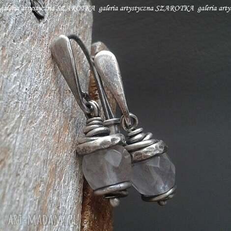 muśnięte różem kolczyki z kwarcu i srebra, kwarc, srebro oksydowane