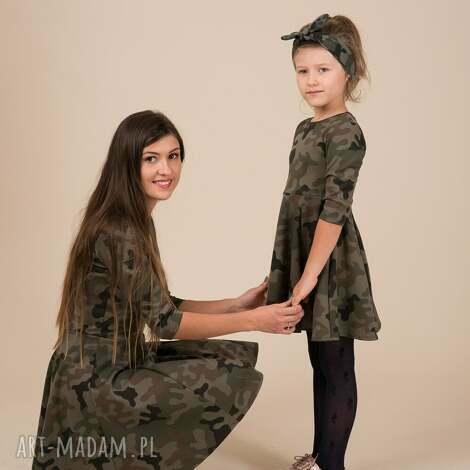 komplet sukienek moro dla mamy i córki, moro, rozkloszowane, komplet, khaki