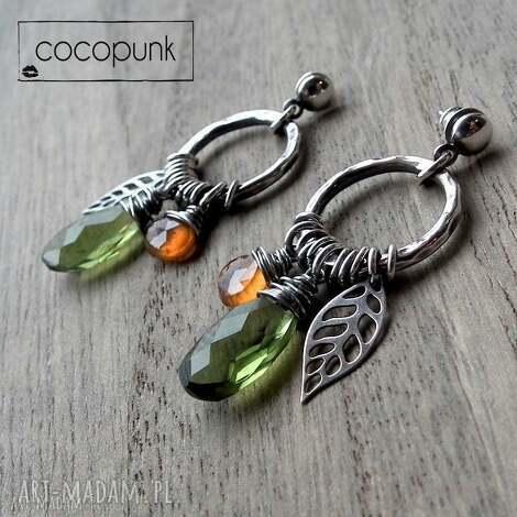 indiańska jesień- srebro,kwarc,hessonit, kolorowe, boho, etniczne, srebro-kolczyki