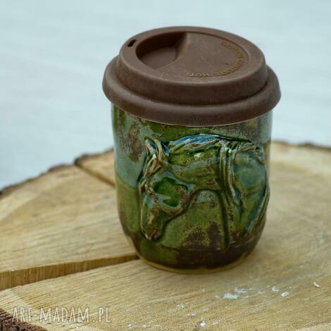 kubki kubek podróżny niekapek z koniem zielony rękodzieło 360 ml