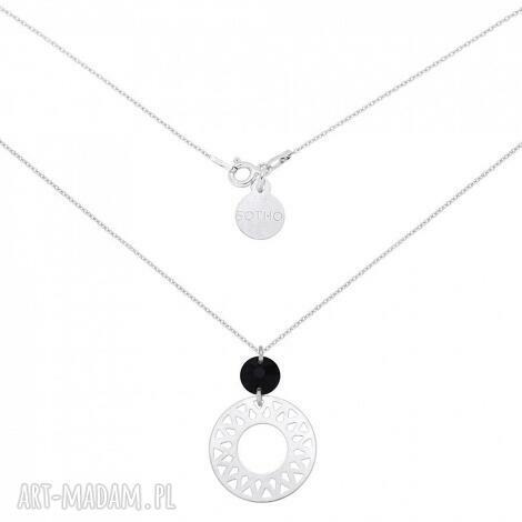 srebrny naszyjnik z duŻĄ arabskĄ rozetĄ i czarnym swarovski crystal
