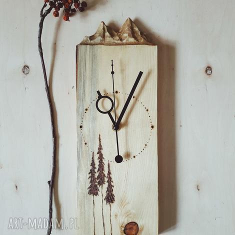 zegary drewniany zegar ścienny góry i pirografia, drewno, sosna, las, natura, folk