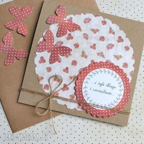 kartka ślubna motyle red roses ii, ślub, motyl
