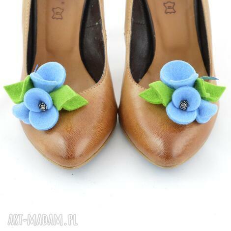 green sheep klipsy do butów - przypinki butów- błękit z zielonym, filc, filcowe