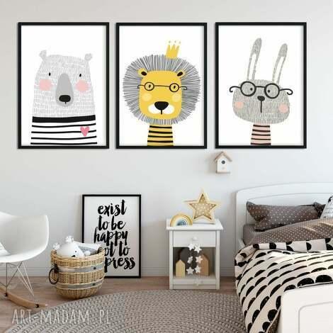 skandi zwierzaki - 3 obrazki a3 - lew, skandynawskie, skandi, paski, niedźwiedź