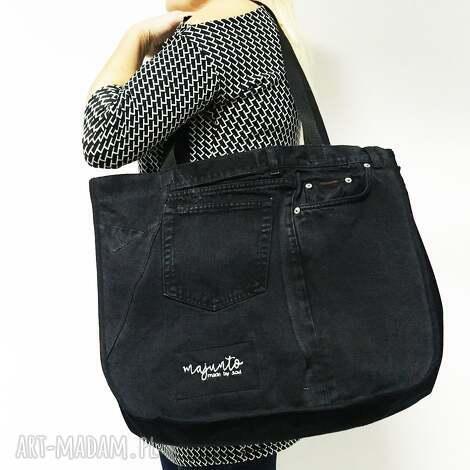 duża torba upcykling jeans 6 ck od majunto, torba, jeansowa