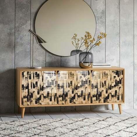 modna komoda 3 drzwiowa z ilustracja w drewnie, laminowana zywica na wysoki