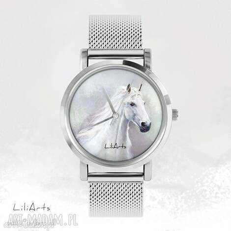 zegarki zegarek, bransoletka - biały koń metalowy, bransoletka, metalowa