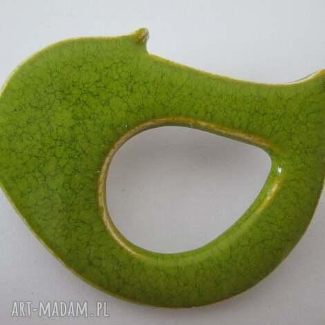 broszka limonkowy ptak - ceramiczna, ceramika, zielona, zapinana