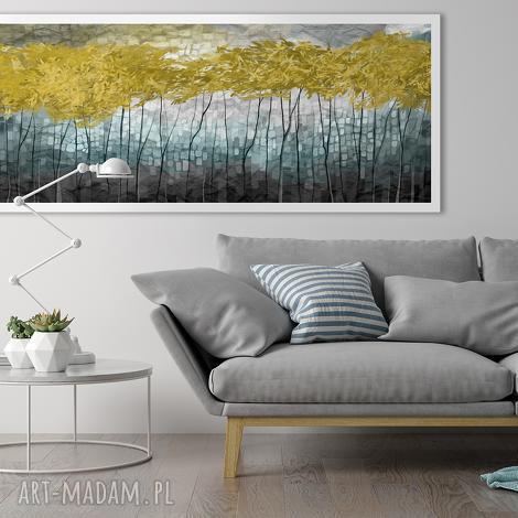 obraz drukowany na płótnie pejzaż z drzewami w odcieniach turkusów 150x60cm
